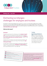 "Image for opinion ""Contracting-out changes: challenges for employers and trustees"""